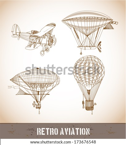 Retro aviation sketch collection in vintage style. Vector illustration. - stock vector