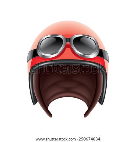 Retro aviator helmet isolated on white photo-realistic vector illustration - stock vector