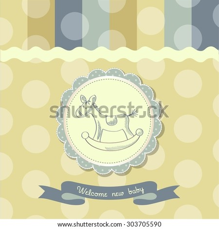 retro baby shower card with rocking horse, vector illustration - stock vector
