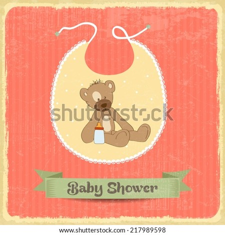 retro baby shower card with teddy bear, vector format - stock vector