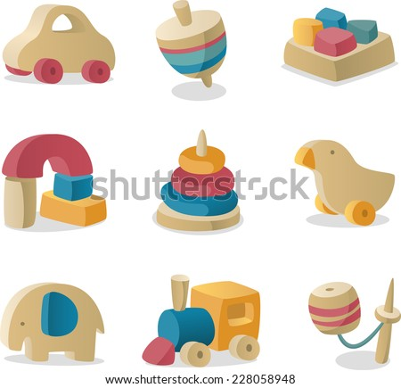 retro baby Wood toys icon collection. - stock vector