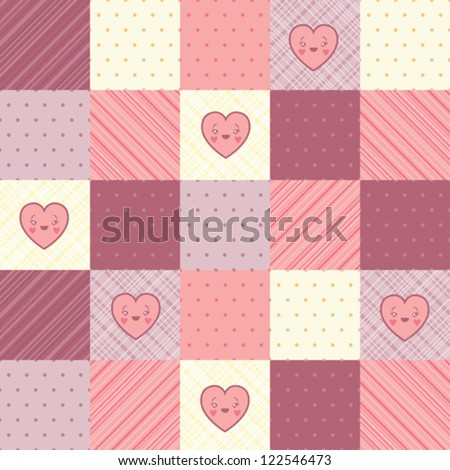 Retro background of vintage design with hearts.