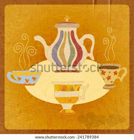 Retro background tea. Vector illustration. - stock vector