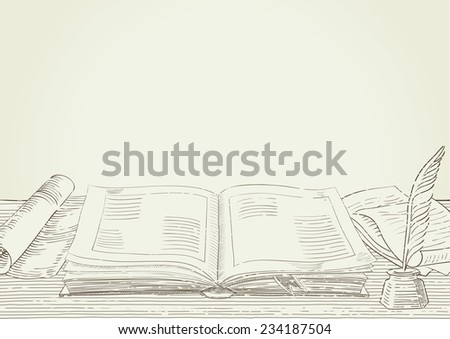 Retro background. Vector background with old  book and antique objects at engraving style.