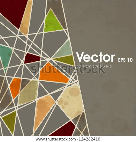 Retro background with abstract colorful triangle design. EPS 10. - stock vector