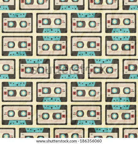 retro background with cassette tape pattern on paper texture - stock vector