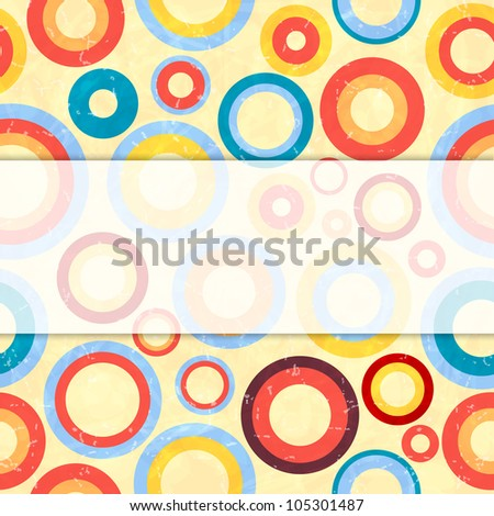 Retro background with circles. Vector illustration.
