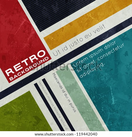 Retro background with colored squares and stripes - stock vector