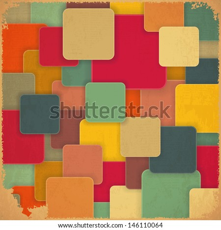 Retro Background with Colored Squares in Vintage Style. Vector Illustration.