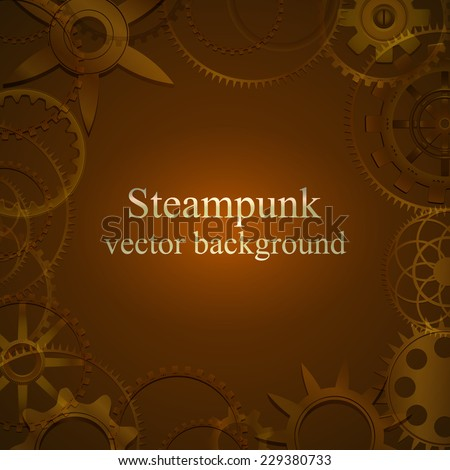 retro background with gears in brown tones. Steampunk. vector illustration