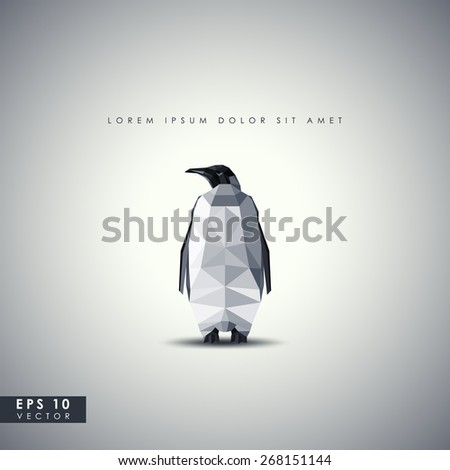 Retro background with penguin in polygonal style - stock vector