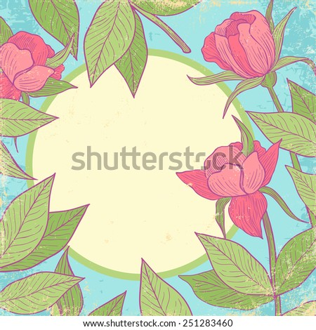 Retro background with pink flowers - stock vector