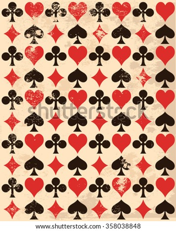 Retro-background with playing card symbols  - stock vector