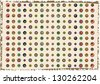 retro background with symmetrical colorful circles isolated on old hand made paper - stock vector