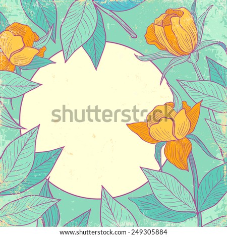 Retro background with yellow flowers - stock vector