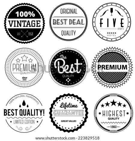 Retro badges set. Premium quality, best quality, highest quality, best deal, five star hotel, vintage. - stock vector