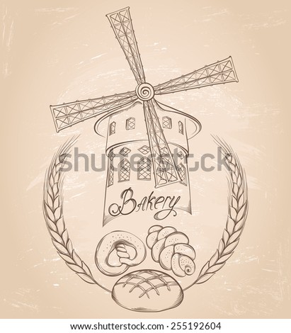 Retro bakery background. Vector hand drawn illustration of a mill on on vintage grunge background. Labels or pack for bread and bakery. - stock vector