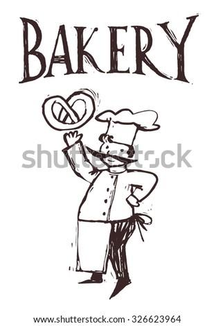 Retro Bakery label and baker. Cartoon baker. - stock vector