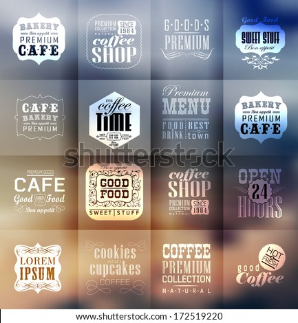 Retro bakery labels and typography. Blur, shadows background. Coffee shop, cafe, menu design elements, calligraphic - stock vector