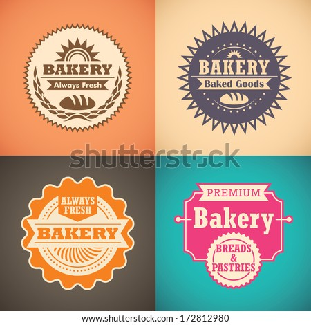 Retro bakery labels. Vector illustration.