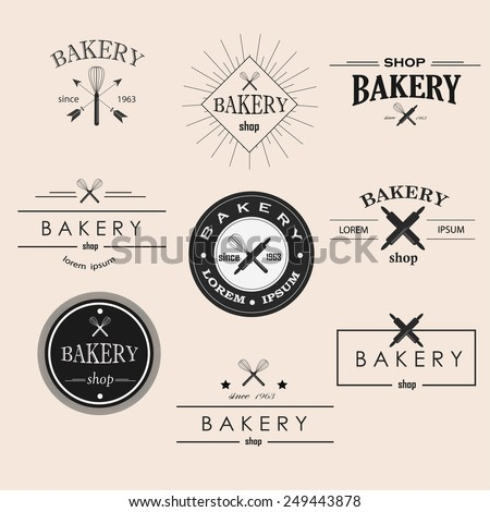 Retro bakery logotypes set. Vector design elements.Vintage badges and labels set - stock vector