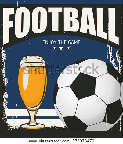 Retro banner. A cup of beer and ball. Sports bar menu design template - stock vector