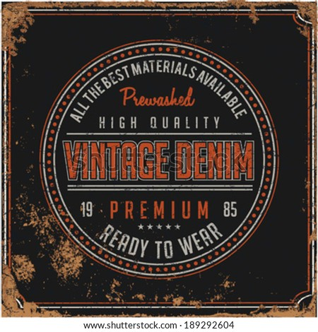 Retro Banner | Vintage Denim | Hand drawing | T-shirt Printing | Badge Applique Label - stock vector