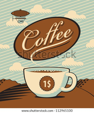 Retro banner with a cup of coffee in the landscape - stock vector