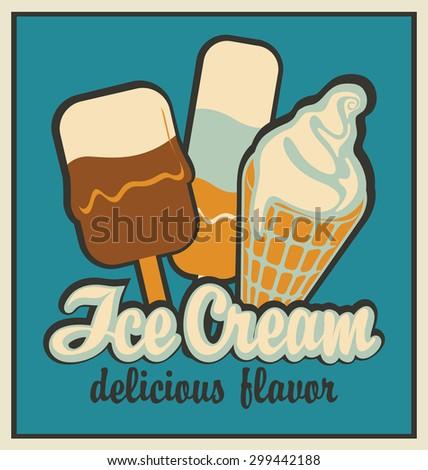 retro banner with ice cream - stock vector