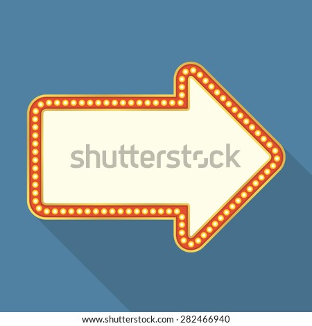 Retro banner with lights shaped as arrow, flat design with long shadow, vector eps10 illustration - stock vector