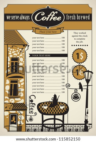 Retro banner with outdoor cafes and table - stock vector