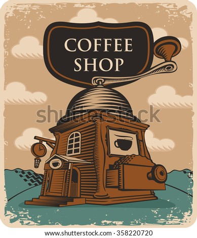 Retro banner with the coffee grinder coffee shop - stock vector