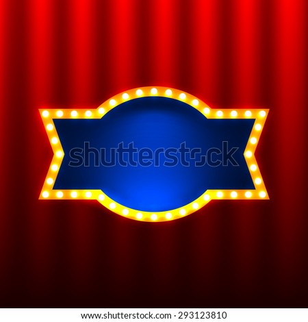 retro banners on the red curtain background - stock vector