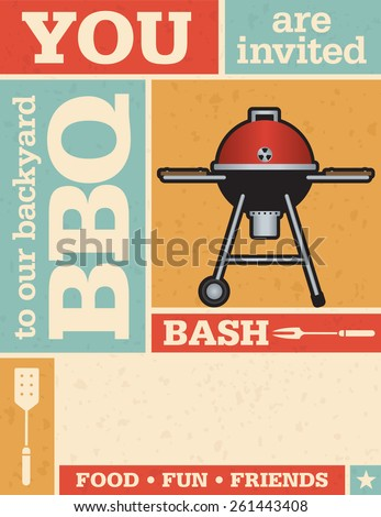 Retro Barbecue Invitation. Vintage style vector invitation with grid pattern and grunge texture. Includes barbecue illustration. - stock vector
