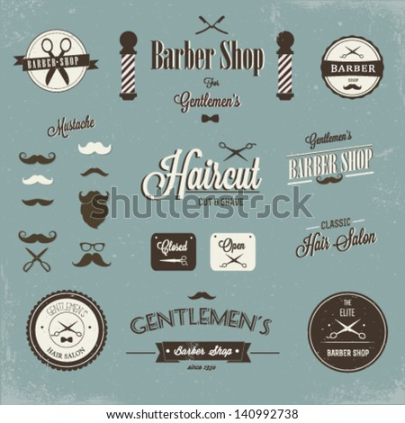 Retro barber shop - stock vector