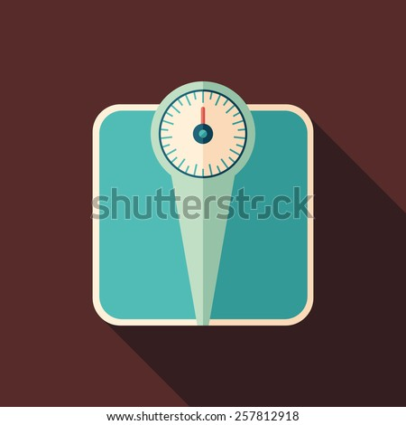 Retro bathroom scales flat square icon with long shadows.  - stock vector
