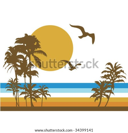 Retro Beach Scene - stock vector