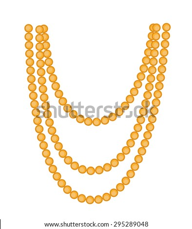 Retro Beads Necklace Clipart - stock vector