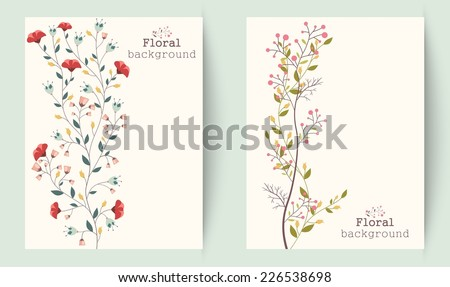 Retro beautiful flower banners  - stock vector