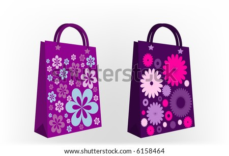 retro beautiful vector tags and bags with retro flowers - stock vector