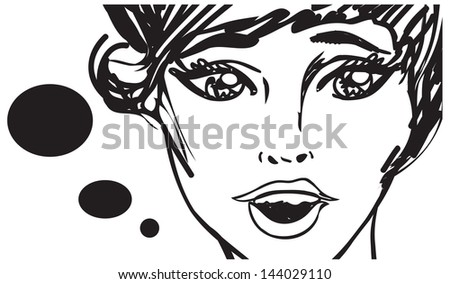 Retro beauty woman speaking talking  - vintage art Illustration - stock vector