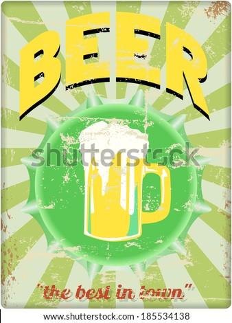 retro beer enamel sign, vector, free copy space - stock vector