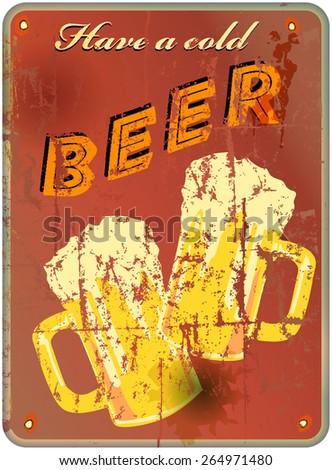 retro beer enamel sign, vector illustration - stock vector
