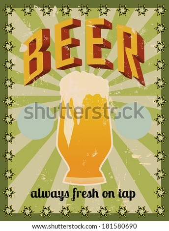 retro beer illustration, free space for your text or sign - stock vector