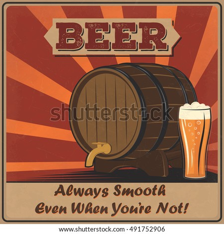 Retro Beer Poster Of A Wooden Barrel And Foamy Glass Vintage