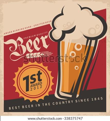 Retro beer vector poster. Vintage label or banner design for Oktoberfest.