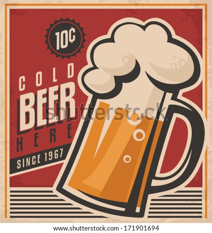 Retro beer vector poster. Vintage poster template for cold beer. Retro label  or banner design. Vector old paper texture food and drink background concept. - stock vector