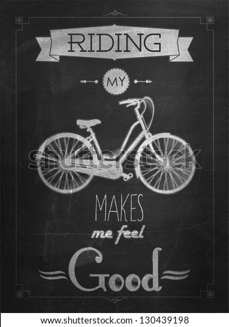 Retro Bicycle Illustration On Blackboard With Chalk - stock vector