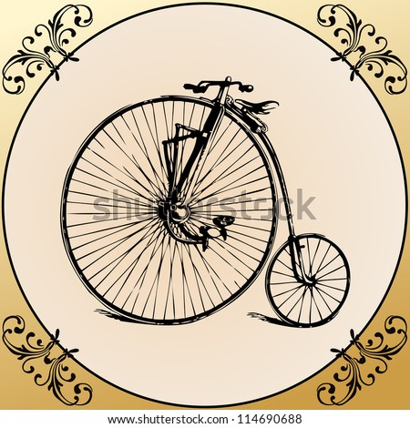 Retro Bicycle on a vintage framed floral background