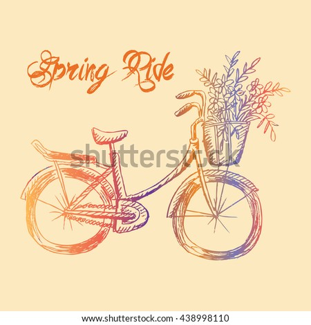 Retro bicycle. Sketchy style. - stock vector